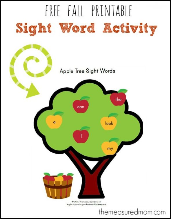 Apple Tree Sight Words the measured mom 590x754 Free Fall Emergent Readers