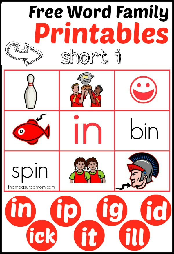 Check out these great reading mats for teaching short i - part of The Measured Mom's growing collection of free word family printables!