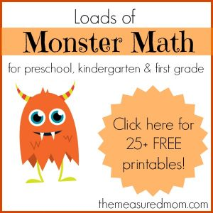 Monster Math for preschool kindergarten and first grade the measured mom2 300x300 Free Preschool Math Game: Monster Dice Match