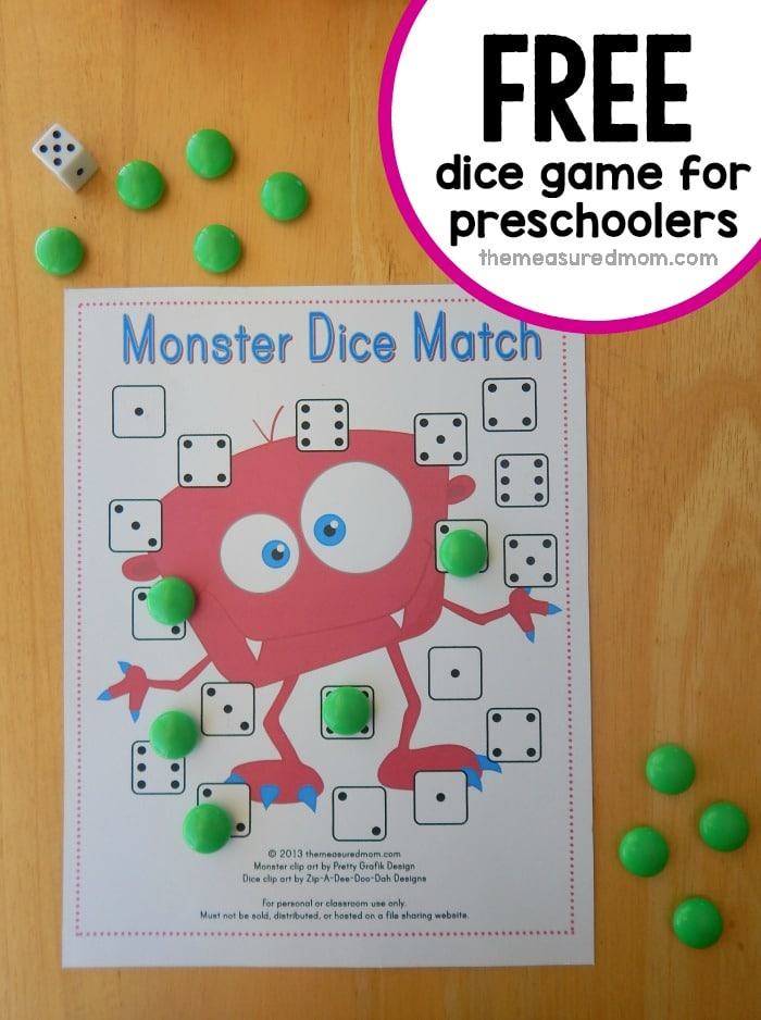 free dice game for preschoolers