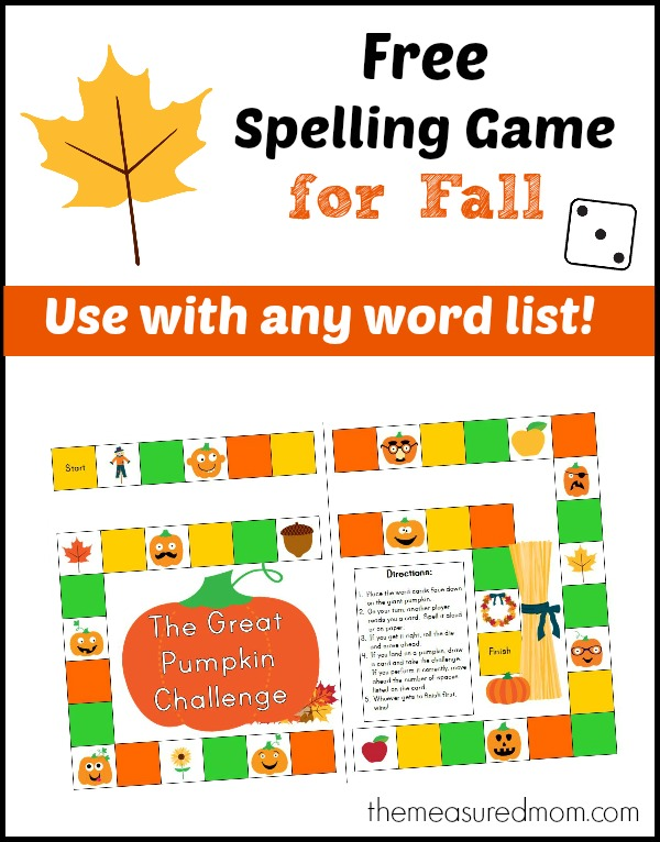 free fall spelling game for any word list the measured mom Free spelling game for Fall   use with any word list!