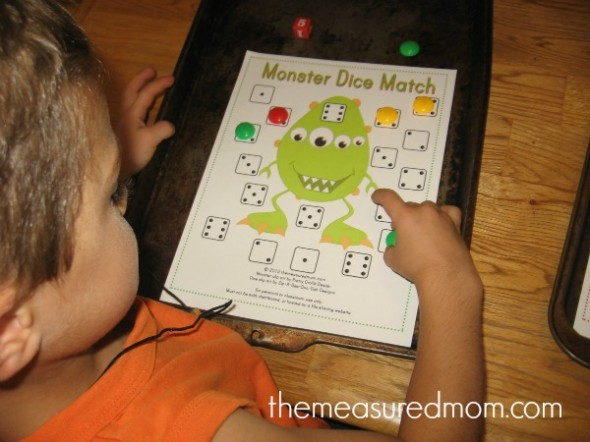 free preschool math game 2 the measured mom 590x442 Free Preschool Math Game: Monster Dice Match