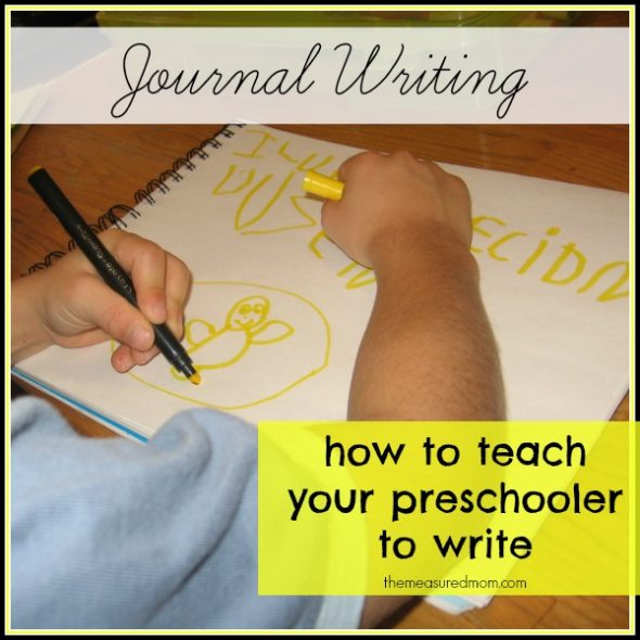 how to teach preschoolers to write the measured mom 590x590 How to teach journal writing in preschool