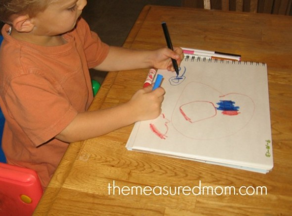 journal writing in preschool 1 the measured mom 590x436 How to teach journal writing in preschool