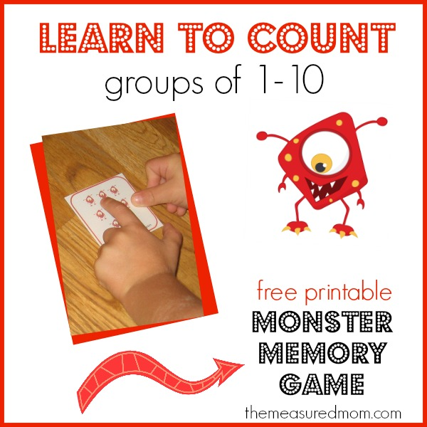 Help your preschooler learn to count groups up to 10 with this free monster memory game!