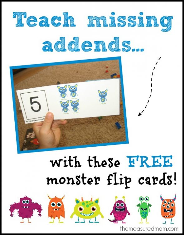 teach missing addends with monster flip cards the measured mom 590x753 Teach missing addends with monster flip cards!