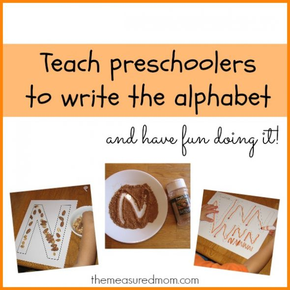 Writing the letter N 1a the measured mom 590x590 Teach preschoolers to write the alphabet   Letter N