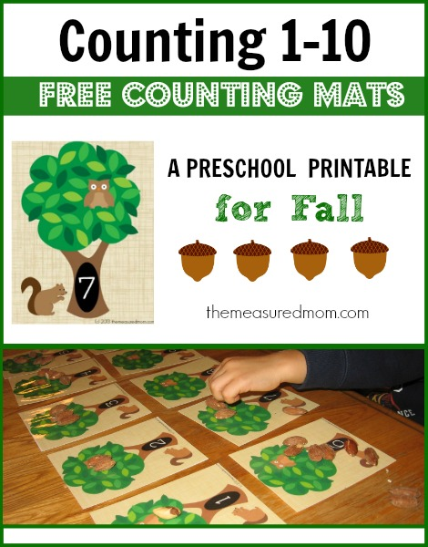 Need something to help your preschooler practice counting 1-10? Get these great math mats from The Measured Mom!