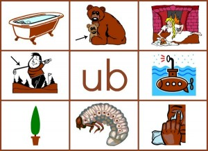 UB word family mat reduced size 300x218 Word Family Activities for Short u (final set of short vowel Read n Stick!)