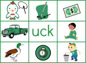 UCK word family mat reduced size 300x218 Word Family Activities for Short u (final set of short vowel Read n Stick!)