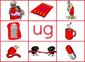 UG word family mat reduced size 300x218 Word Family Activities for Short u (final set of short vowel Read n Stick!)