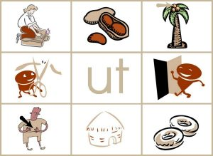 UT word family mat reduced size 300x219 Word Family Activities for Short u (final set of short vowel Read n Stick!)