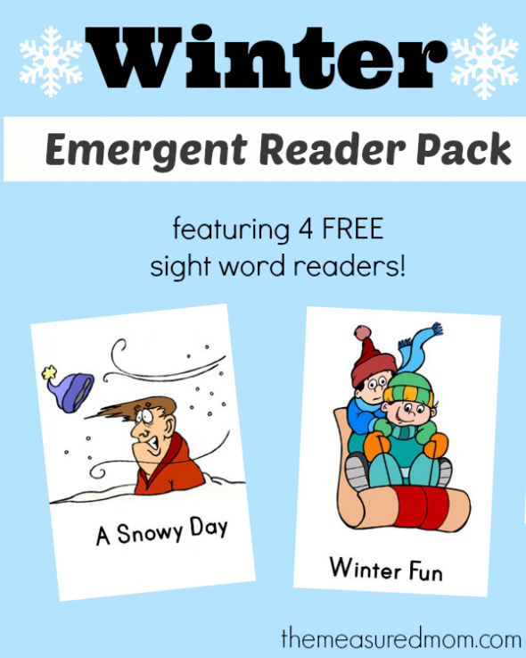 Winter emergent readers the measured mom 590x737 Free Winter Emergent Readers! (sight word readers, set 13)