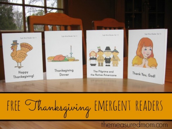 You'll want to print this FREE set of Thanksgiving emergent readers from The Measured Mom! Perfect for teaching kids just learning to read.