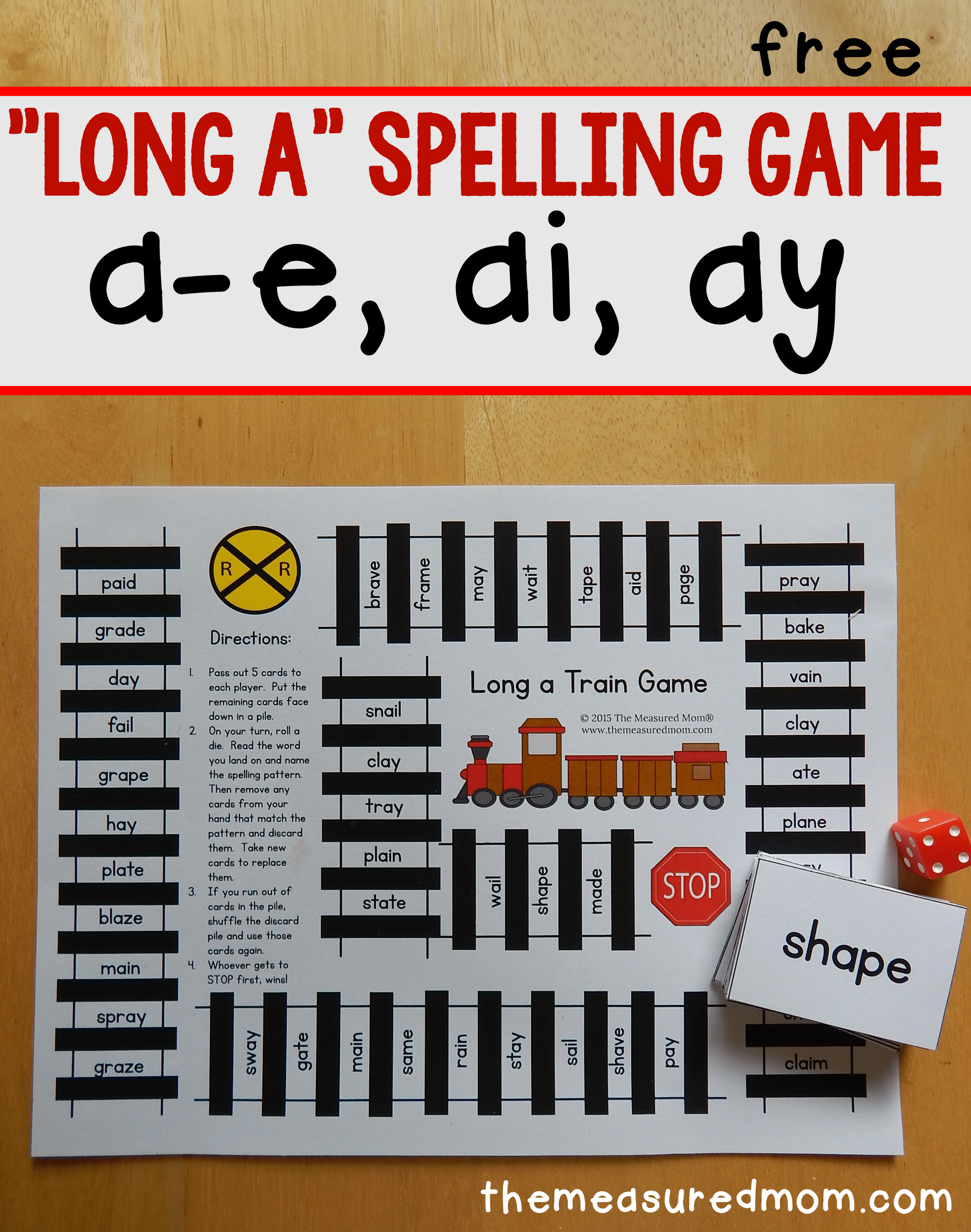 A Game For Free : Long a spelling patterns free printable game the