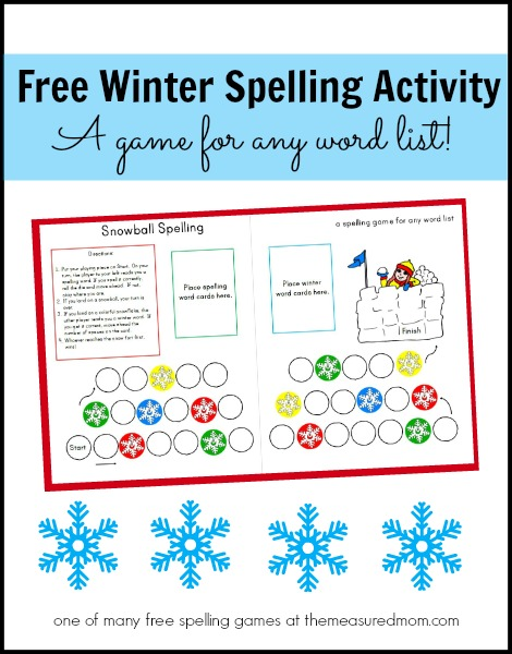 free winter spelling activity the measured mom Free winter spelling activity   a game for any word list! (grades 1 3)