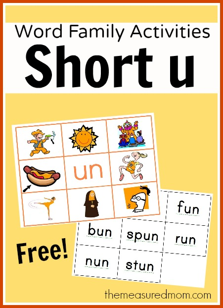 short u word family activities the measured mom Word Family Activities for Short u (final set of short vowel Read n Stick!)