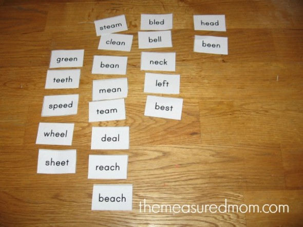 tips for teaching spelling 3 the measured mom 590x442 Tips for teaching spelling    and a free lesson (with printables!) for spelling long e (ee, ea)