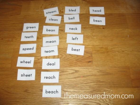 tips for teaching spelling 3 the measured mom 590x442 Tips for teaching spelling    and a free lesson (with printables!) for spelling long e (ee, ea)