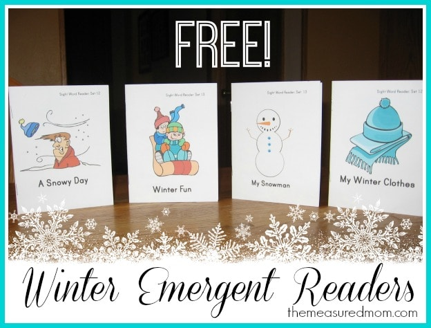 winter emergent readers 5 the measured mom Free Winter Emergent Readers! (sight word readers, set 13)