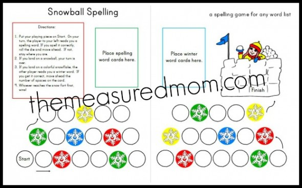 winter spelling game snip 590x368 Free winter spelling activity   a game for any word list! (grades 1 3)