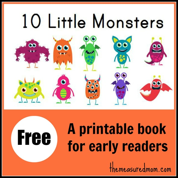 Free 10 Little Monsters Printable Reading Book - Printable-picture-books