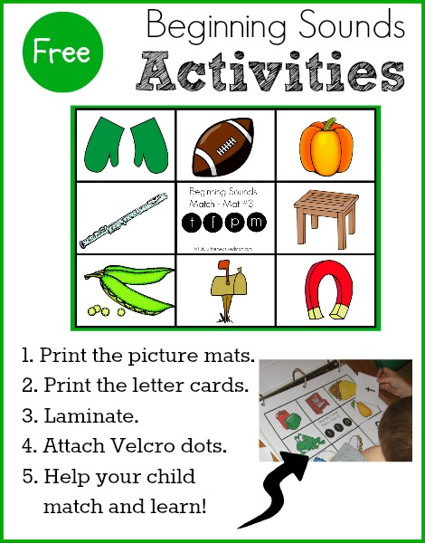 Free Beginning Sounds Activities for preschool and kindergarten the measured mom Free beginning sounds activities  five more match mats!