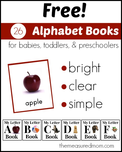 free alphabet books for babies toddlers and preschoolers the measured mom Simple Alphabet Books for Babies, Toddlers, and Preschoolers   A Complete Set!