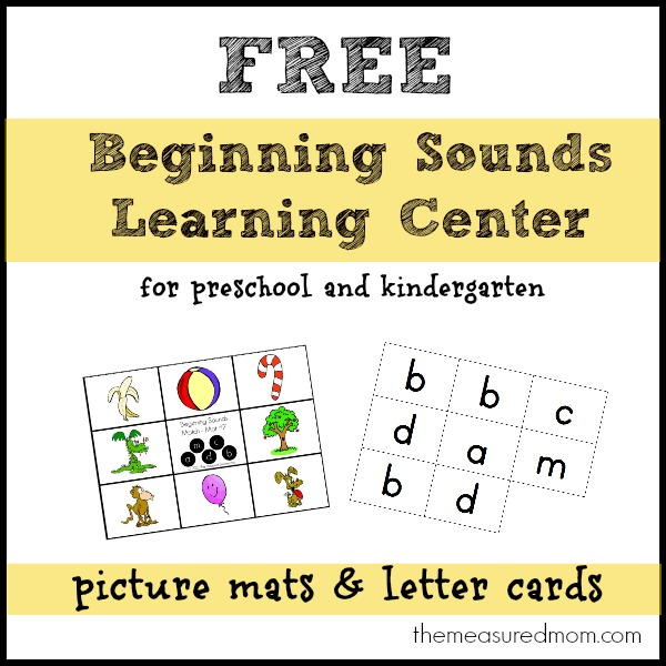 Looking for a way to help your preschooler or kindergartner master beginning sounds? Print this set of free picture mats and letter cards.