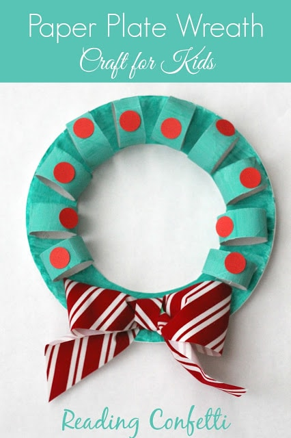 paper plate wreath Last minute Christmas decorations (that your kids can make!)    plus a new After School Linky