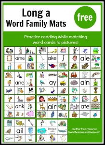free long a word family mats - the measured mom