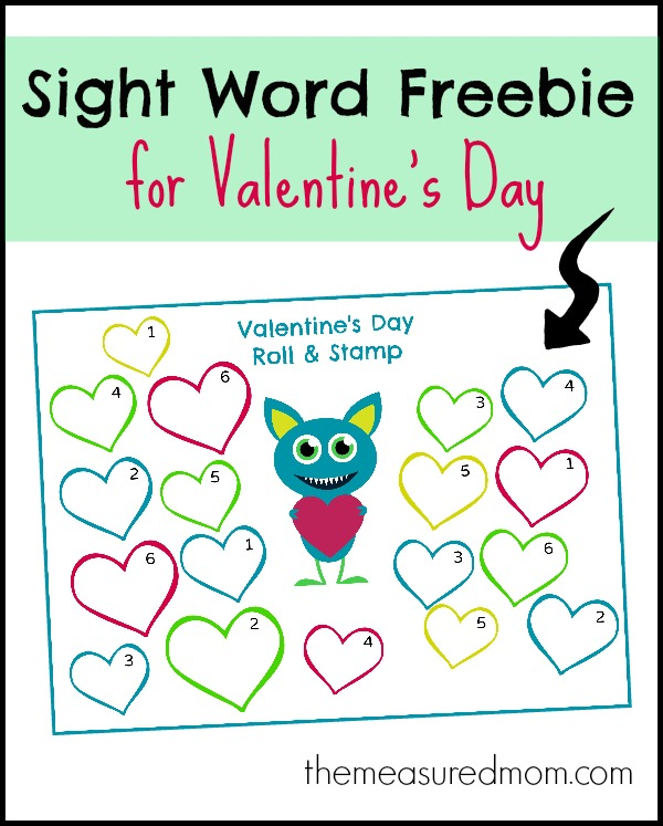 Roll & sight stamp Activity: word  Word Mom printables  The Stamp Day Valentine's Sight Measured