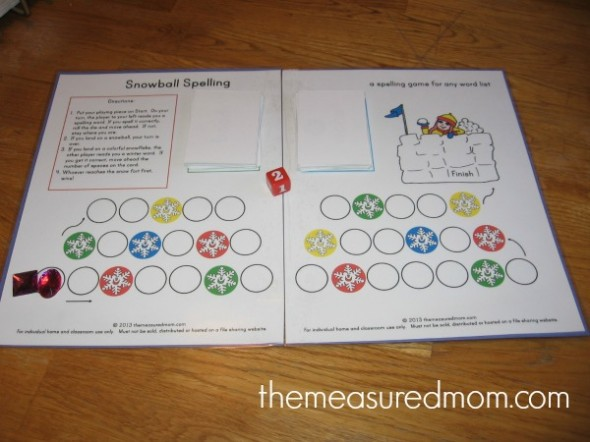 winter spelling game 2 the measured mom 590x442 Free winter spelling activity   a game for any word list! (grades 1 3)