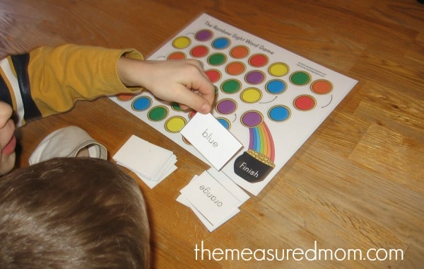 rainbow sight word game 2 Teach kids to read color words with this FREE Rainbow Sight Word Game!