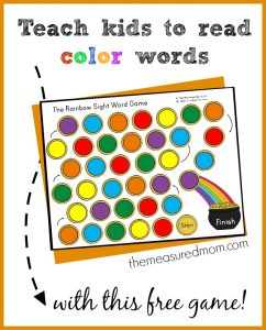 teach kids to read color words with this free game