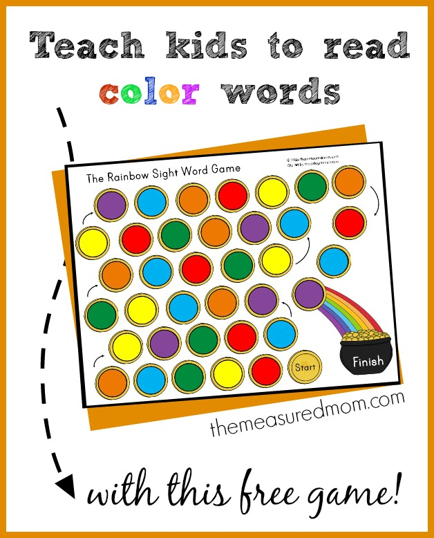 Teach kids to read color words with this FREE printable game! Just right for kids ages 4-6.