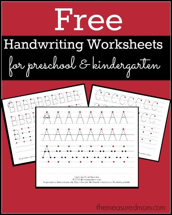 free printable handwriting worksheets for preschool kindergarten the measured mom. Black Bedroom Furniture Sets. Home Design Ideas