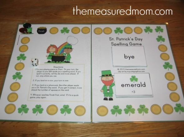 Looking for a St. Patrick's Day spelling activity? Print this game for free -- and use it for any word list!