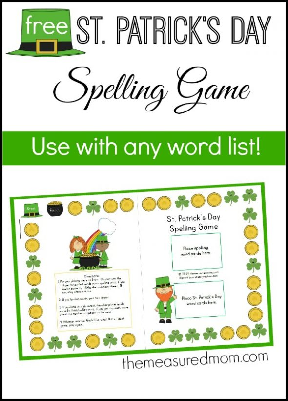 st. patricks day spelling game1 590x820 Free St. Patricks Day Spelling Activity for any word list!