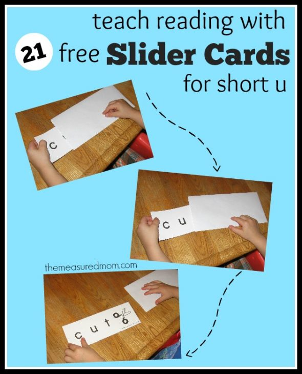 Print these 21 FREE word slider cards to help kids read the short u word families.