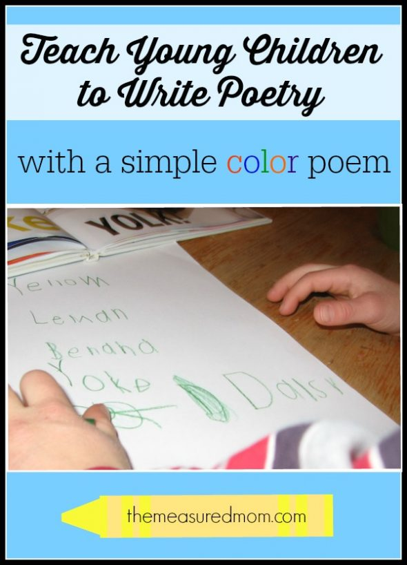 Teach children to write poetry with a simple color poem! Find a complete lesson at The Measured Mom.