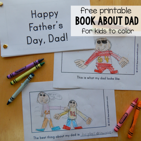 free printable book about Dad square image