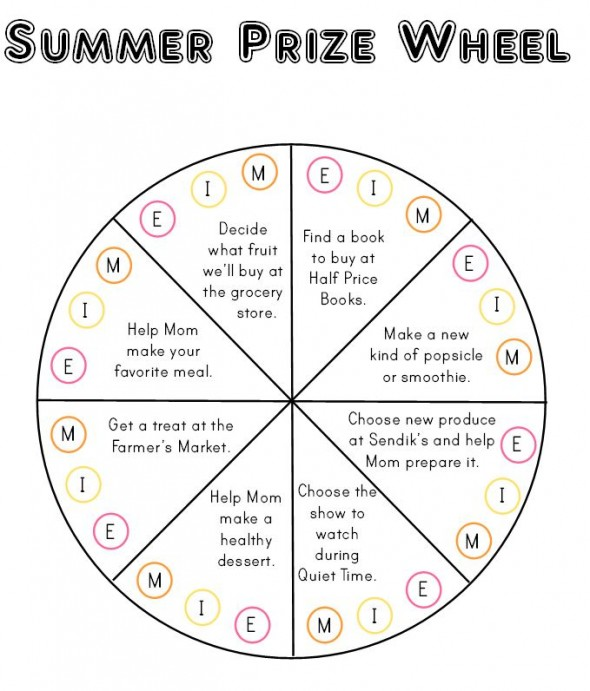 Summer Prize Wheel 590x691 How to organize summer learning activities for kids