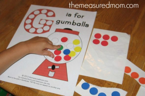Get this G is for Gumball alphabet printable for free!