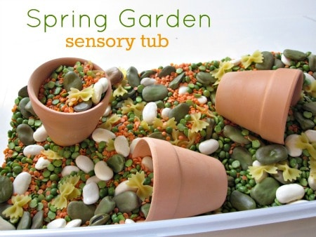 garden sensory tub 11 Summer Boredom Buster for Preschoolers   Make a garden in a box