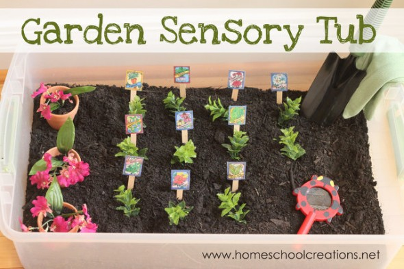 garden sensory tub 9 590x393 Summer Boredom Buster for Preschoolers   Make a garden in a box