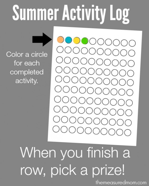 summer activity log 590x737 How to organize summer learning activities for kids