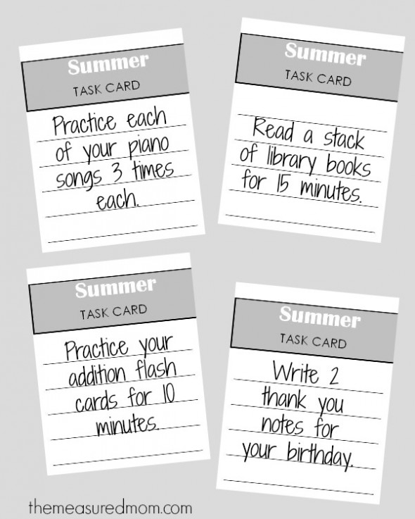 summer task cards 590x737 How to organize summer learning activities for kids