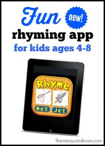 fun new rhyming app for kids ages 4-8
