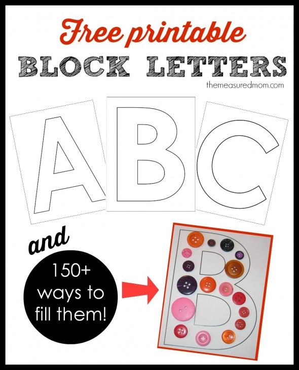 printable block letters and ways to fill them 590x731 Printable block letters... and over 150 ways to fill them!